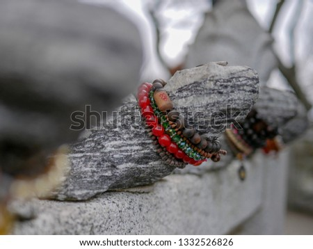 A tortoise wishing a prayer at a temple in Yeosu, South Jeolla Province. A photograph of a rosary hanging on a turtle's neck. A picture of a turtle where you can see the wishes of those who wish.