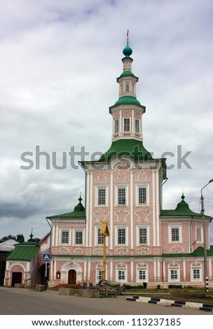 A Totma church is a building on which the church proper is based on one side and the bell-tower on the other side, so that the construction reminds a ship.