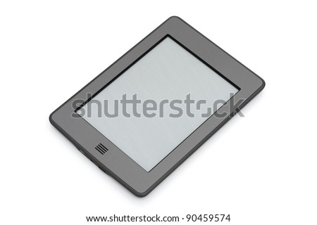 A touch e-reader isolated on white