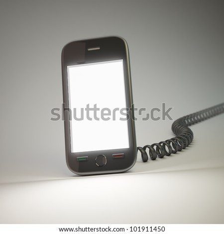 A touchscreen smartphone with a vintage phone cord
