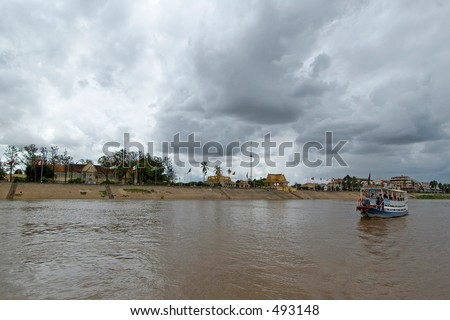 A tourist boat cruise on the Mekong River in Phnom Penh