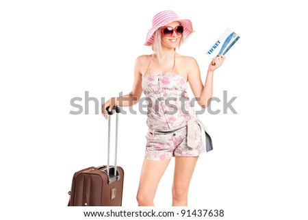 A tourist girl holding a ticket and luggage isolated on white background