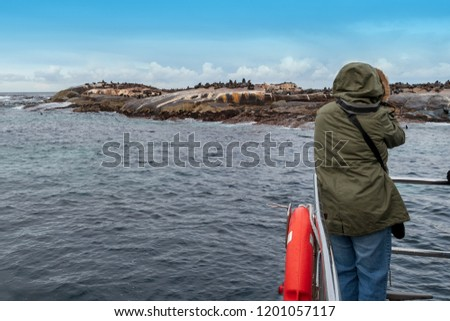 A tourist on an excursion boat taking pictures of the seal colony near Hout Bay in South Africa. The colony is a big tourist attraction on the Cape Peninsula in South Africa.