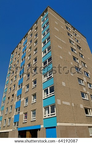 A tower-block of council flats from the 1960's in the UK.