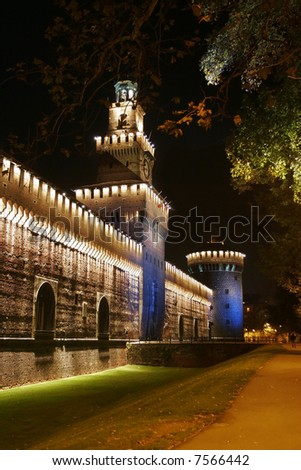 A tower of the ancient castle Castello Sforzesco, in Milan - night view