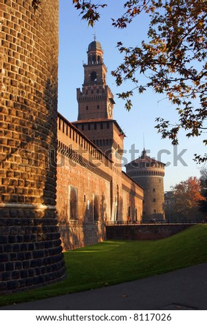 A tower of the ancient castle, in Milan