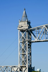 A tower of the Cape Cod Canal Railroad Bridge, a vertical lift bridge in Bourne, Massachusetts near Buzzards Bay.