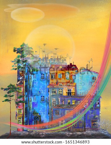 A town with a rainbow in the background from a daytime yellow dusk. Artwork. Surreal art.