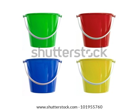 A toy bucket and spade set  isolated against a white background