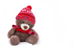 A toy fluffy bear in a winter hat on a white background.