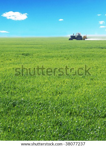 a tractor working in a field