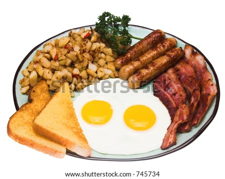 A traditional American breakfast of sunnyside up eggs, bacon, sasauge, hash browns, and buttered toast.