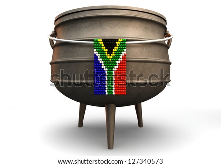 A traditional cast iron potjie pot  and a zulu beaded south african flag hanging off a steel handle on an isolated background - stock photo