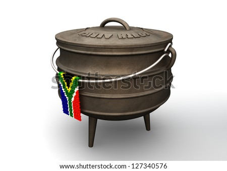 A traditional cast iron potjie pot  and a zulu beaded south african flag hanging off a steel handle on an isolated background