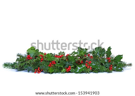 A traditional Christmas garland made from fresh holly with red berries green ivy leaves and sprigs of conifer spruce Isolated on a white background