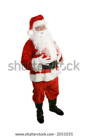 A traditional Christmas Santa Clause, full body isolated. - stock photo