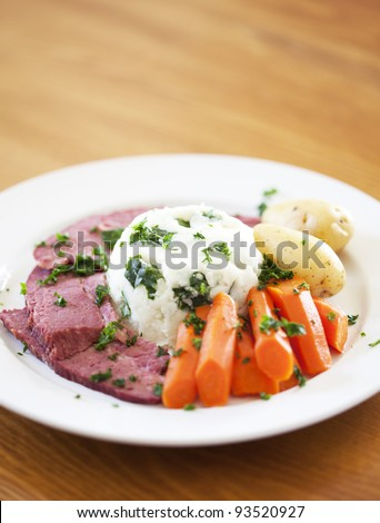 A Traditional Corned Beef Dinner on a table
