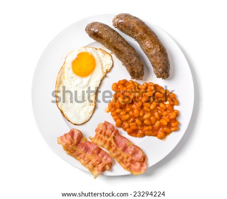 a traditional english breakfast - egg, sausages, beans and bacon