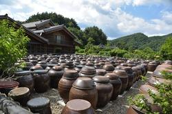 A traditional Korean house full of 'Jangdokdae'(Korean earthenware jar stand)