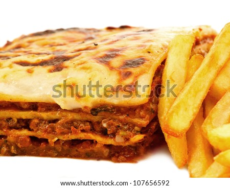 lasagna made with minced beef bolognese sauce and three layers ...