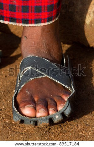 A traditional Masai sandal made from a motorcycle tire