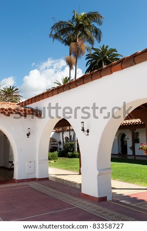 A traditional Mexican courtyard with Terra cotta roof