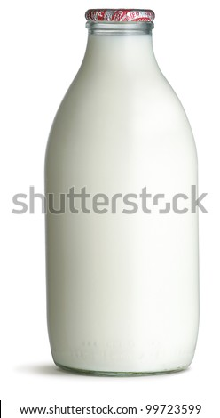 a traditional old fashioned glass milk bottle isolated on a white bottle