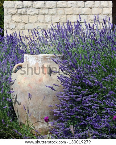 A traditional ornamental jar against a stone wall amidst lush lavenders.