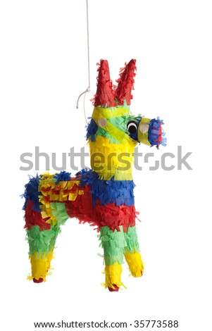 A traditional, primary colored Mexican party pinata on a white background