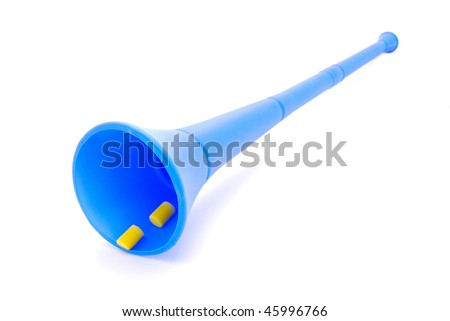 A traditional real blue plastic Vuvuzela horn instrument for soccer world cup fans in South Africa