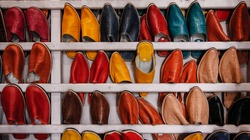 A traditional shoe store in Marrakesh, Morocco