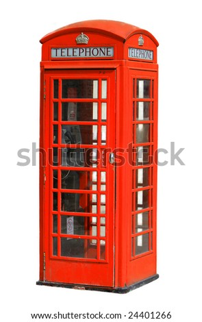 a traditional telephone booth in London against white background