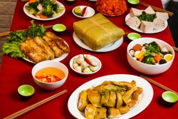 A traditional Vietnamese meal for lunar new year Tet holiday, on the last day of the last year