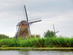 A traditional windmill in the Netherlands at  the famous