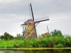 A traditional windmill in the Netherlands at the famous Kinderdijk, Rotterdam