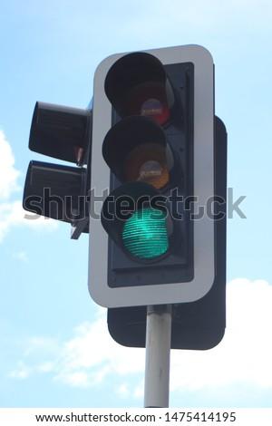 A traffic light on green