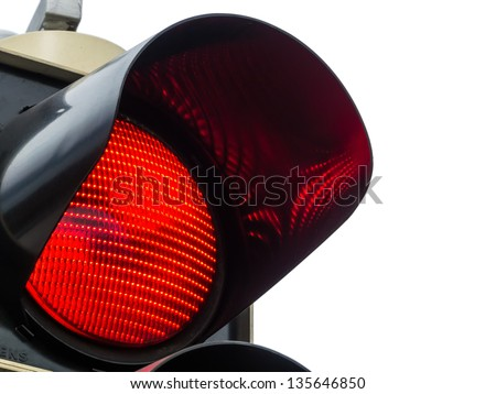 a traffic light shows red light. symbolic photo for maintenance, exit and risk.