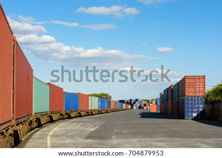 A train of containers parked in a shipping yard on the river Marne for the supply of supermarkets in Paris.