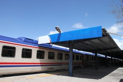 A train stops at the station