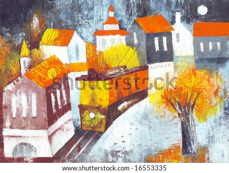 A tram in a night town. Illustration by Eugene Ivanov. - stock photo