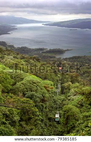 A tram takes visitors through a jungle near Lake Arenal, Costa Rica