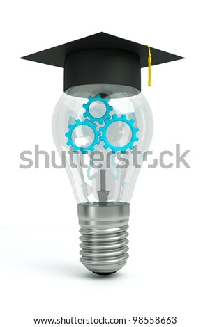 a transparent bulb with a blue gears inside isolated on white as a symbol of brain working