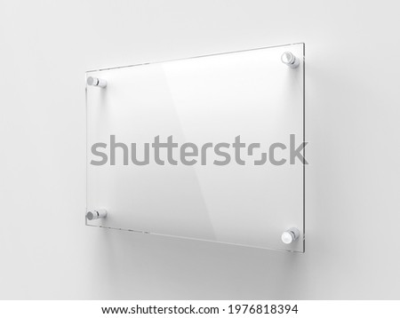A4 Transparent glass nameplate plate on spacer metal holders. Clear printing board for branding. Acrilic advertising signboard on white background mock-up side view. Size 297 x 210 mm. 3D illustration Stock photo ©