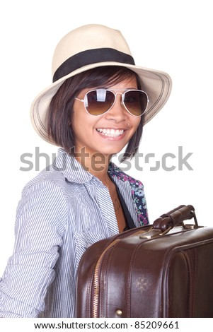 A travel or business image of a beautiful Asian girl with a hat and sunglasses on.  Image is isolated on white.