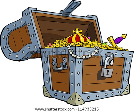A treasure chest on a white background raster version