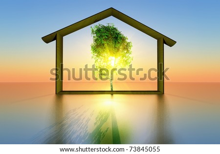a tree and a house representing the concept of ecological construction