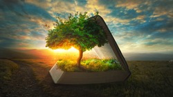 A tree and garden grow out of the pages of the Bible