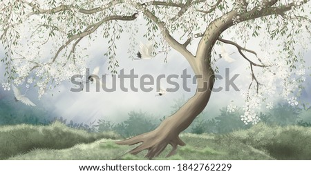 A tree in the fog with a crane flying. For interior printing. Stockfoto ©