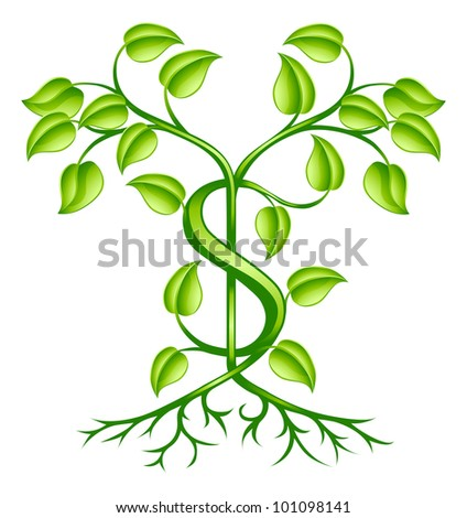 A tree or plant with strong roots growing in shape of a dollar sign. Conceptual illustration for sound financial planning, green shoots of economic recovery, earning interest or other monetary growth.