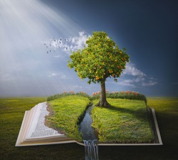 A tree planted by the water growing on top of the pages of an open Bible